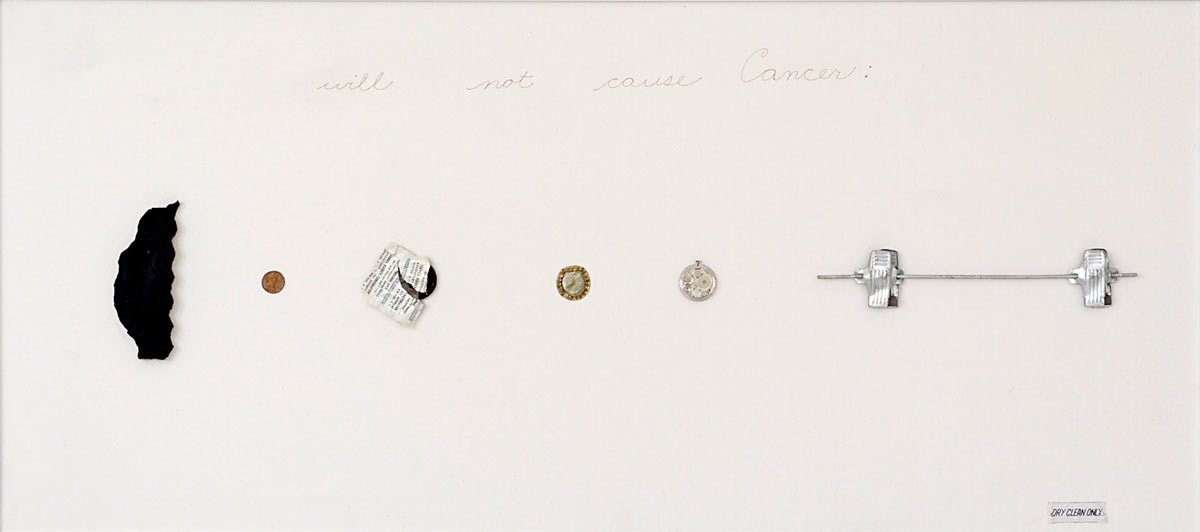"Will Not Cause Cancer, found object collage, 40"" x18"" x 2"", 1976"